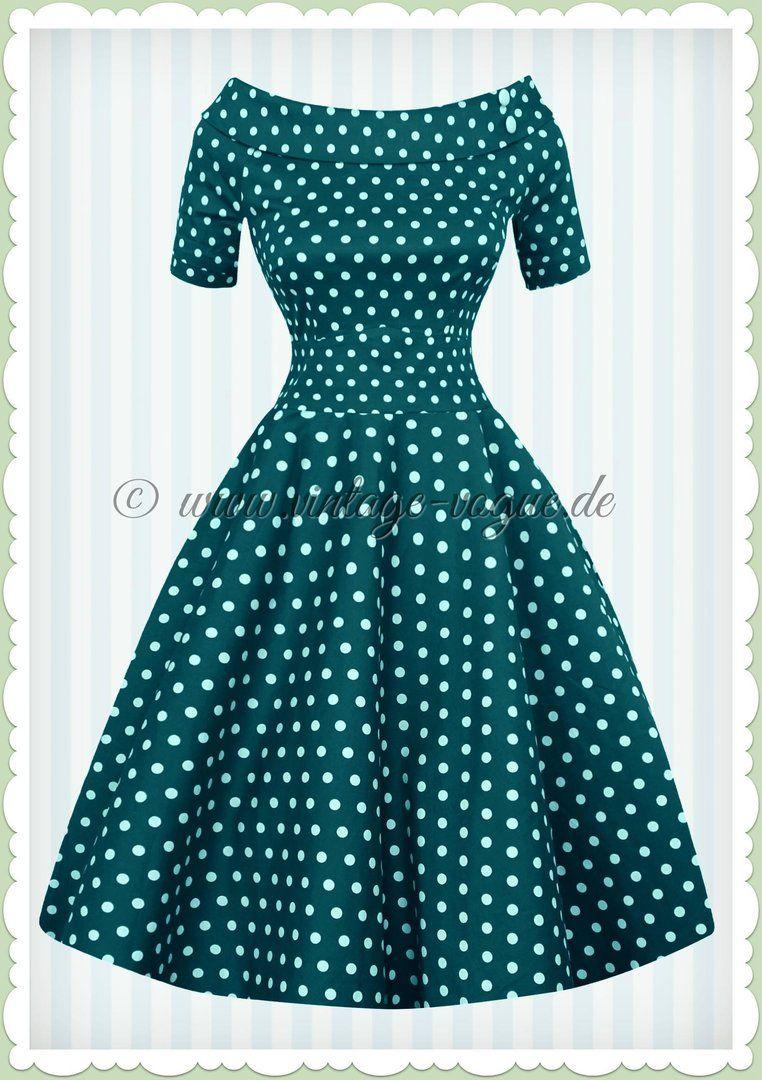 Dolly & Dotty 50er Jahre Rockabilly Punkte Kleid - Darlene - Petrol ...