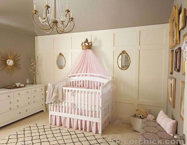 pink grey and gold vintage nursery makeover