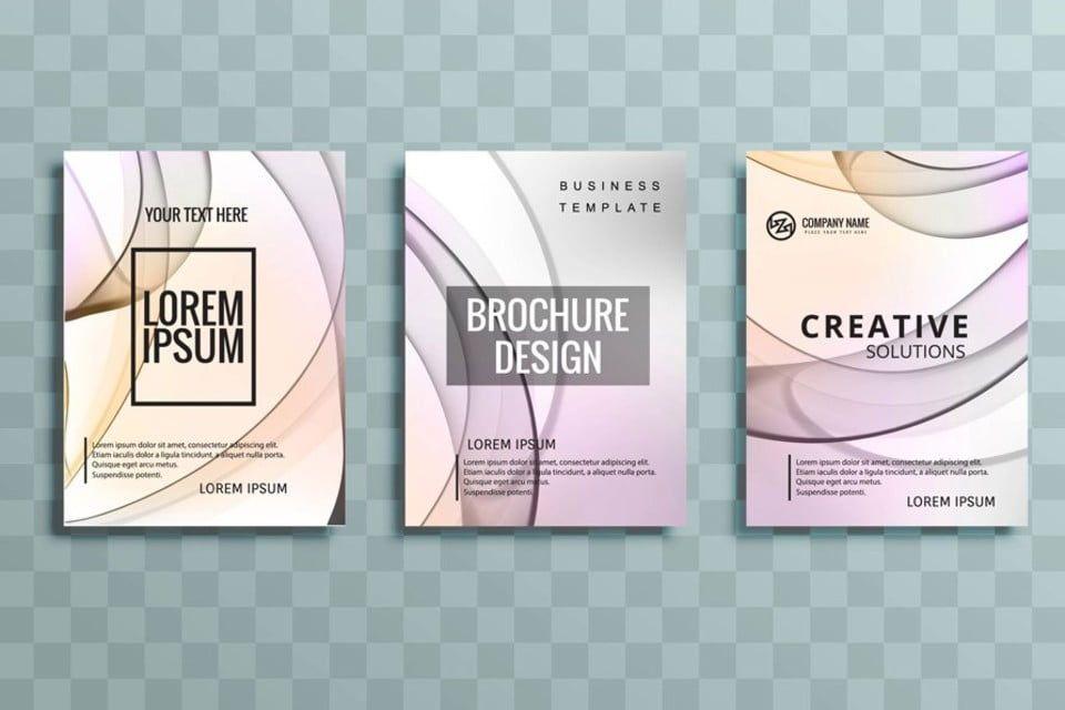حديث ملون مجموعة كتيب الأعمال تصميم الموجة Wave Design Business Brochure Brochure