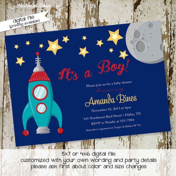 Boy Oh Boy Invitation Co-ed Baby Shower Moon Stars