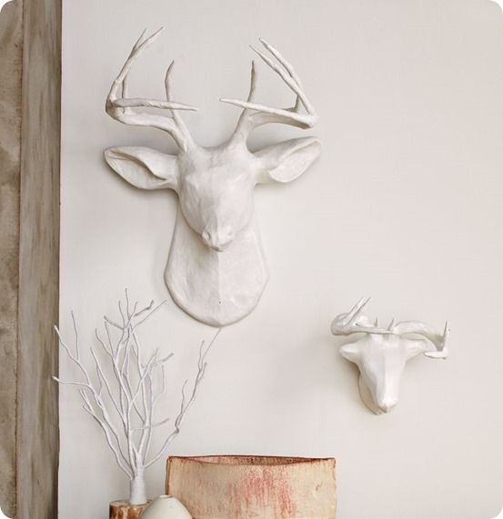 Deer Head Wall Décor to hang dress-up necklaces on in playroom ...