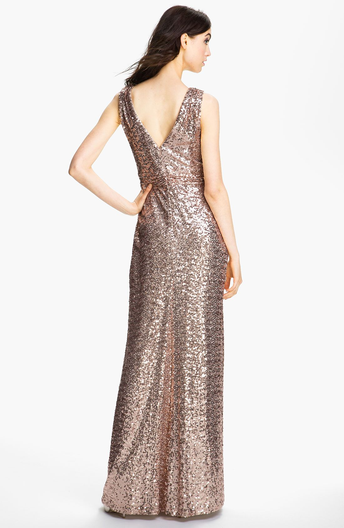 Badgley Mischka Double Vneck Sequin Gown in Gold (blush