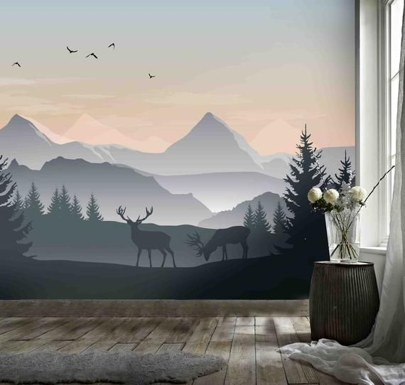 Amazing Mountain Mural Removable Wallpaper From Little Whimsy Wall Art Wallpaper Wall Decor Bedroom Bedroom Wall
