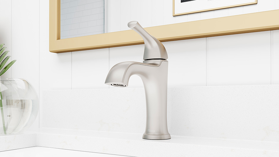 Pfister Ladera Single Hole Single Handle Bathroom Faucet In Spot Defense Brushed Nickel Lf 042 Lrgs The Home Depot Bathroom Faucets Single Handle Bathroom Faucet Faucet