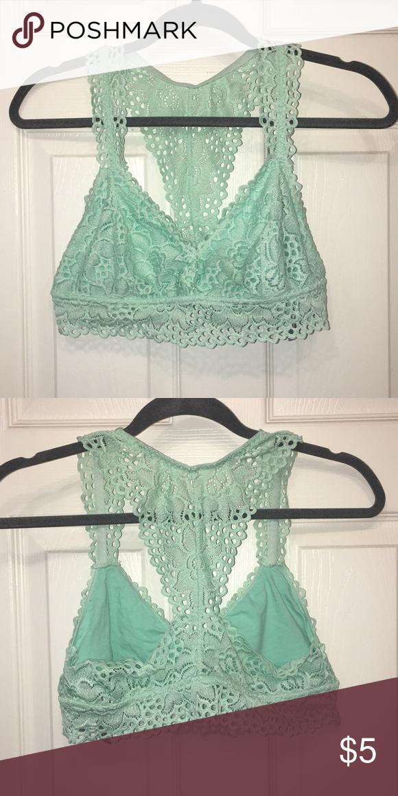 d1a75d2e1c1e1 Aerie lace bralette Light green lace bralette Worn once Size large aerie  Intimates   Sleepwear Bras