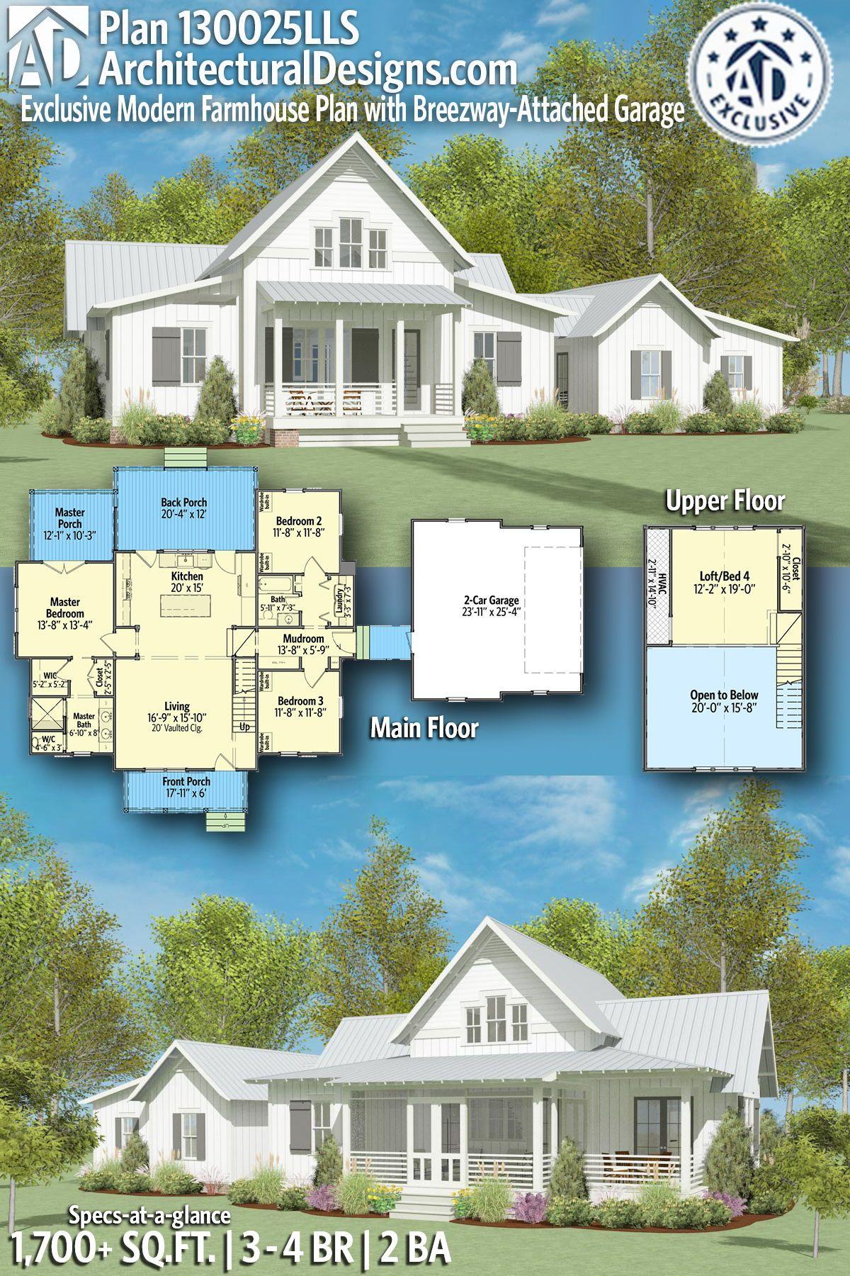 Plan 130025lls Exclusive Modern Farmhouse Plan With Breezeway Attached Garage Farmhouse Plans Modern Farmhouse Plans Country House Plans
