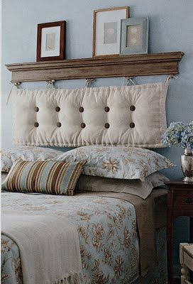 Cheap and Chic DIY Headboard Ideas   Designing My Home   Pinterest     By hanging a chaise cushion from a shelf    voila  A DIY headboard  Buttons  and bows can be added for more personality and a pop of color too