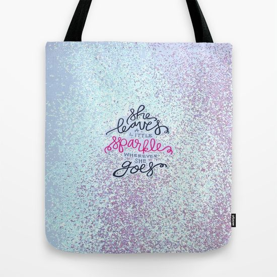 She Leaves A Little Sparkle -  Sparkle Black And Pink Tote Bag