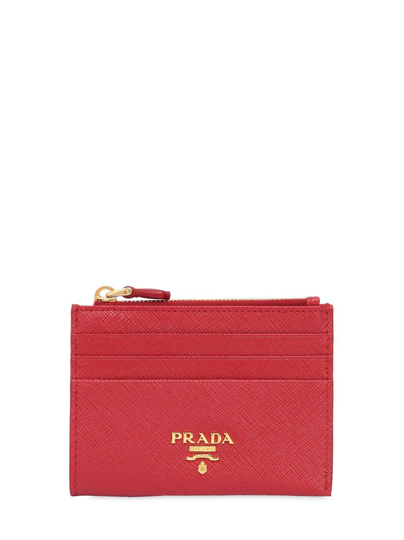 Saffiano leather cardholder - Red Prada 5BAFw