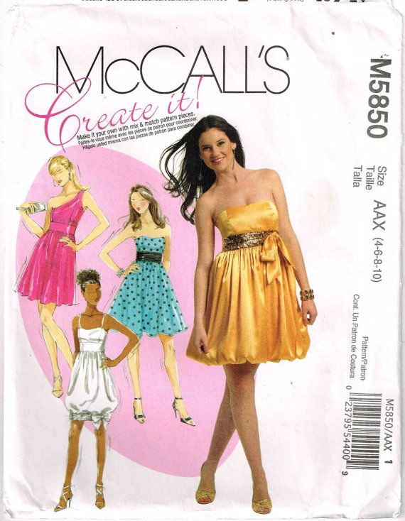 Sewing Pattern Strapless One Shoulder Party Dress Misses McCalls ...