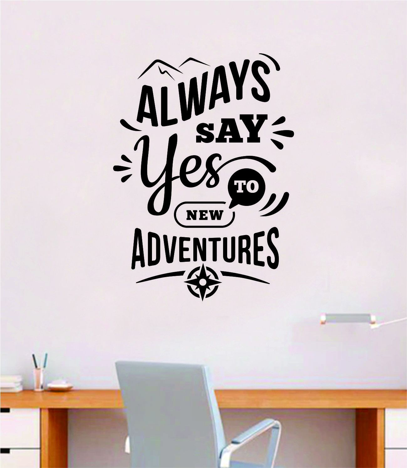 Always Say Yes to New Adventures V2 Wall Decal Sticker Vinyl Art Bedroom Room Home Decor Inspirational School Teen Baby Nursery Travel Wanderlust Mountains - red