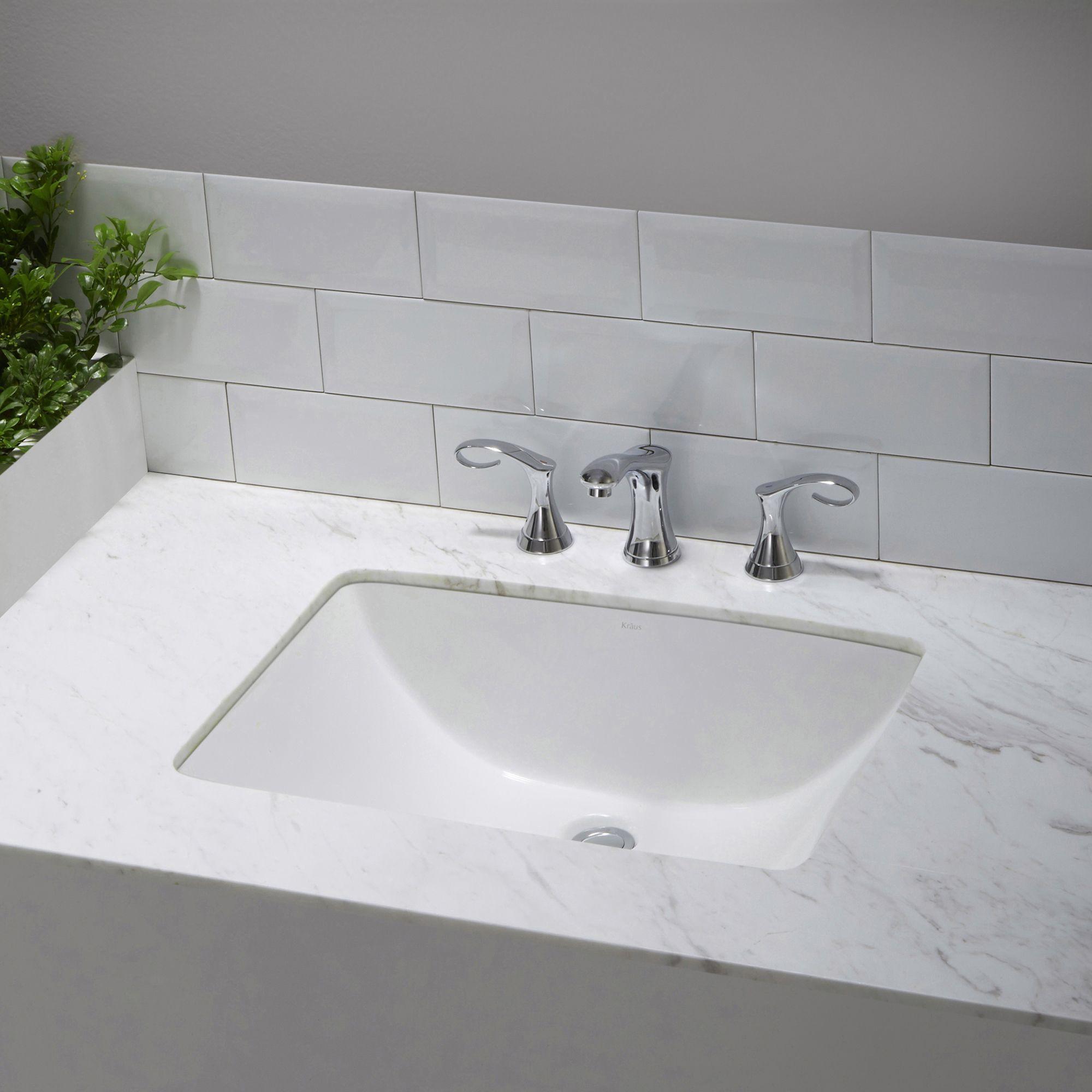 Kraus Kcu 251 Elavo 23 Inch Rectangle Undermount Porcelain Ceramic Vitreous Bathroom Sink In White Overflow Square Bathroom Sink Undermount Bathroom Sink Bathroom Sink