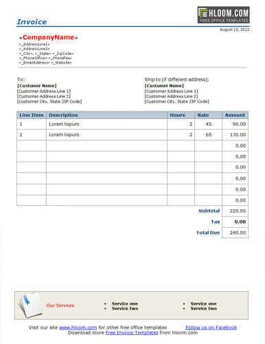 Free Invoice Template by Hloom Work as required Pinterest - work invoice template free