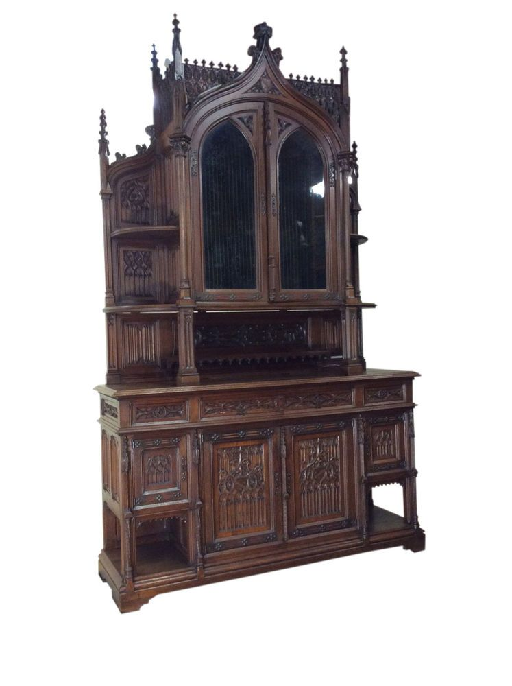 Monumental Antique French Gothic, Gothic Cabinet Furniture