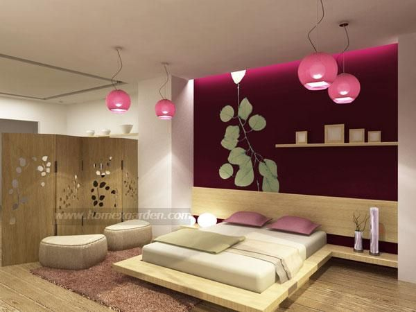 Modern Home Bedroom modern asian home bedroom design ~ colour on back wall is stunning