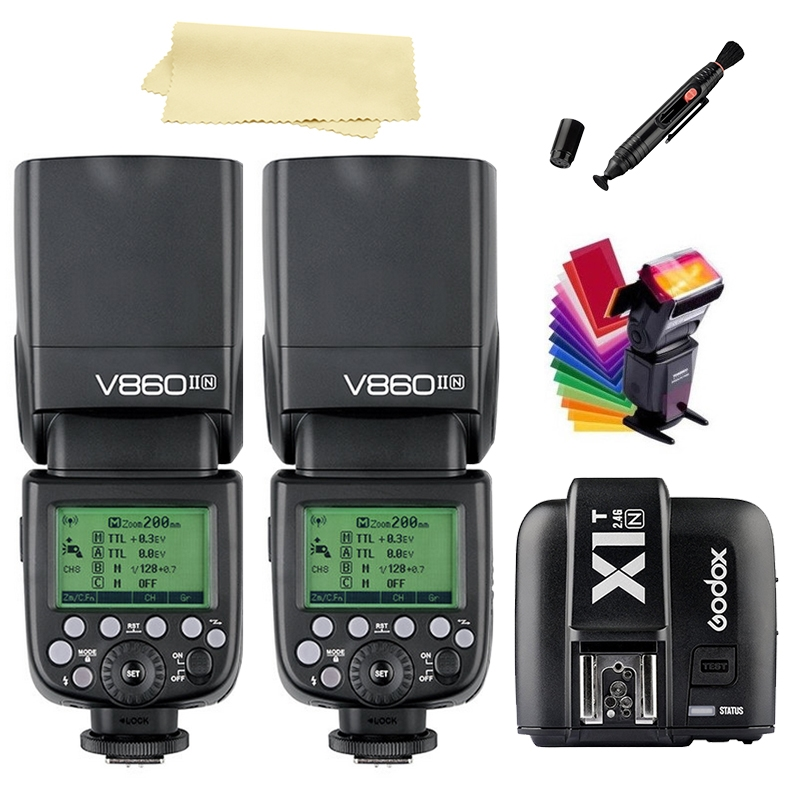 444.00$  Buy now - http://alissl.worldwells.pw/go.php?t=32757113330 - 2 x Godox V860II-N i-TTL 2.4G Camera Speedlite Flash+ X1T Trigger for Nikon DSLR+SUPON FREE GIFTS KIT 444.00$