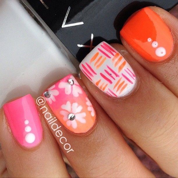 pink + orange nailart @naildecor : graphic checkerboard, floral / flower, rhinestones, dots | Mix & Match nails using Sinful Colors- 24/7, @ColourGossipNails Rise & Grind