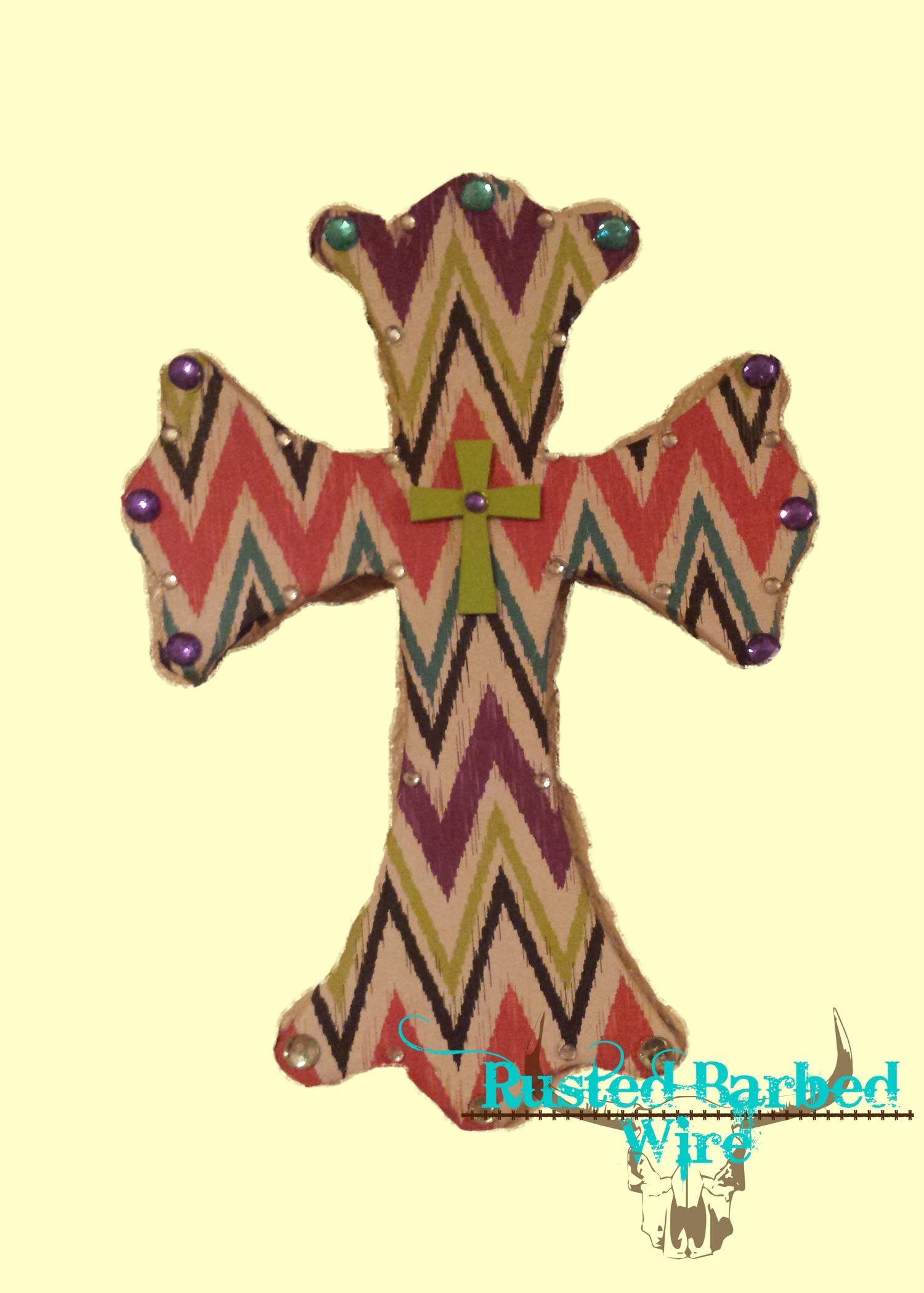 Colorful, funky custom western rustic bling wall art cross! www ...
