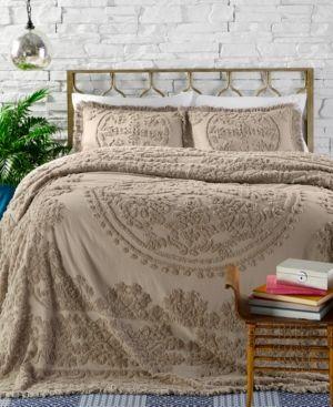 Closeout Ravenna Cotton Tufted Chenille Full Bedspread Tan