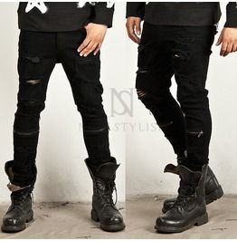 Mens black skinny jeans with rips