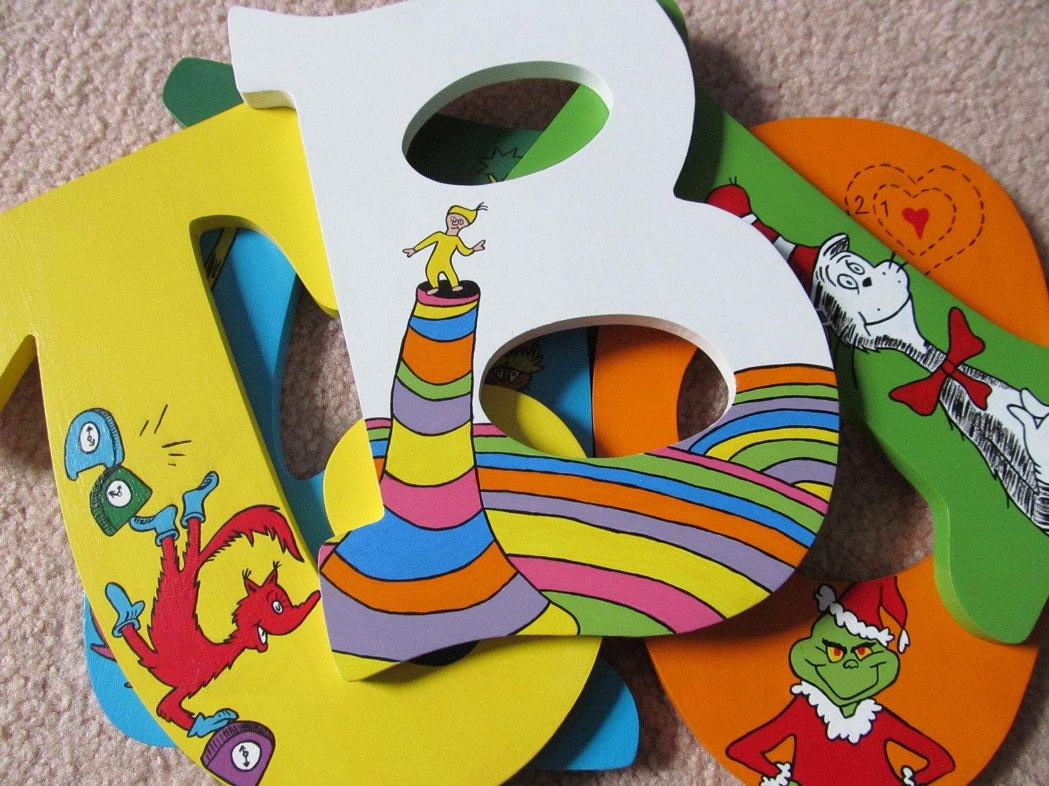 Dr. Seuss Hand-Painted Wooden Letters For Play Room Or