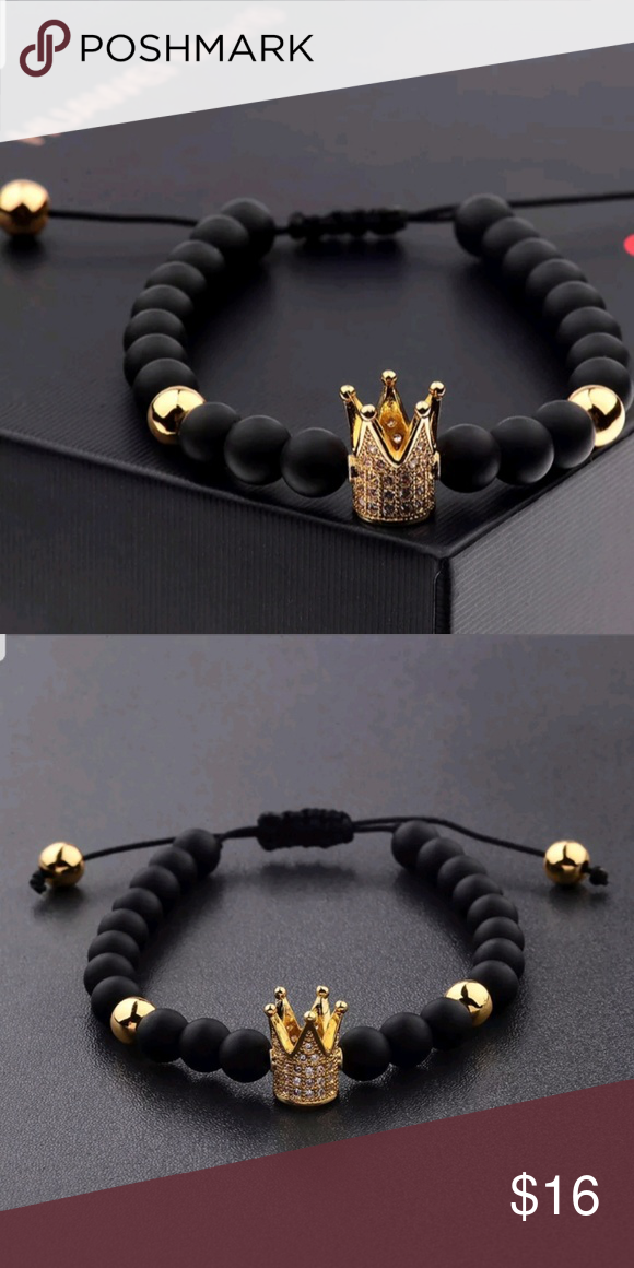 62959f0c44eed CLASSY BLACK STONE BEADED BRACELET GOLD CROWN CHAR BRAND NEW. NEVER ...