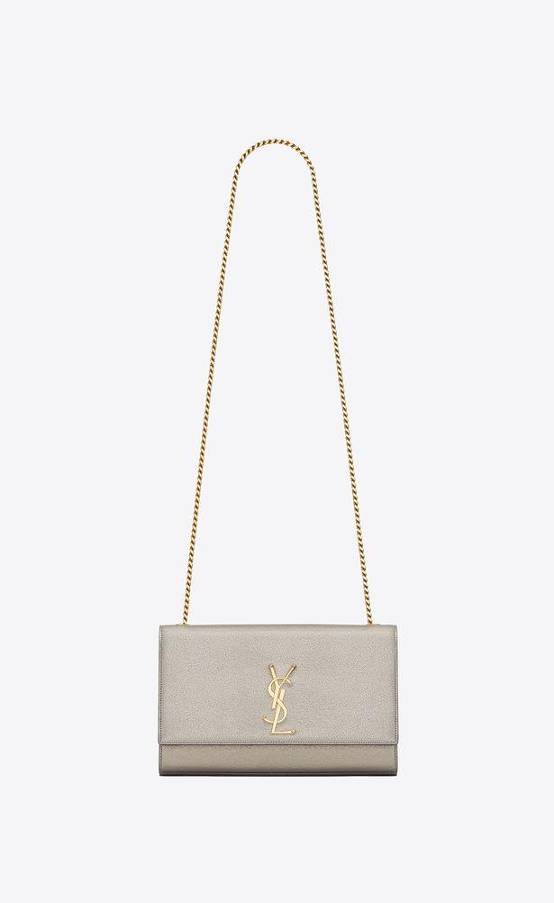 da2edf770174 SAINT LAURENT MONOGRAM KATE Woman medium kate Chain bag in pale gold  grained metallic leather a V4