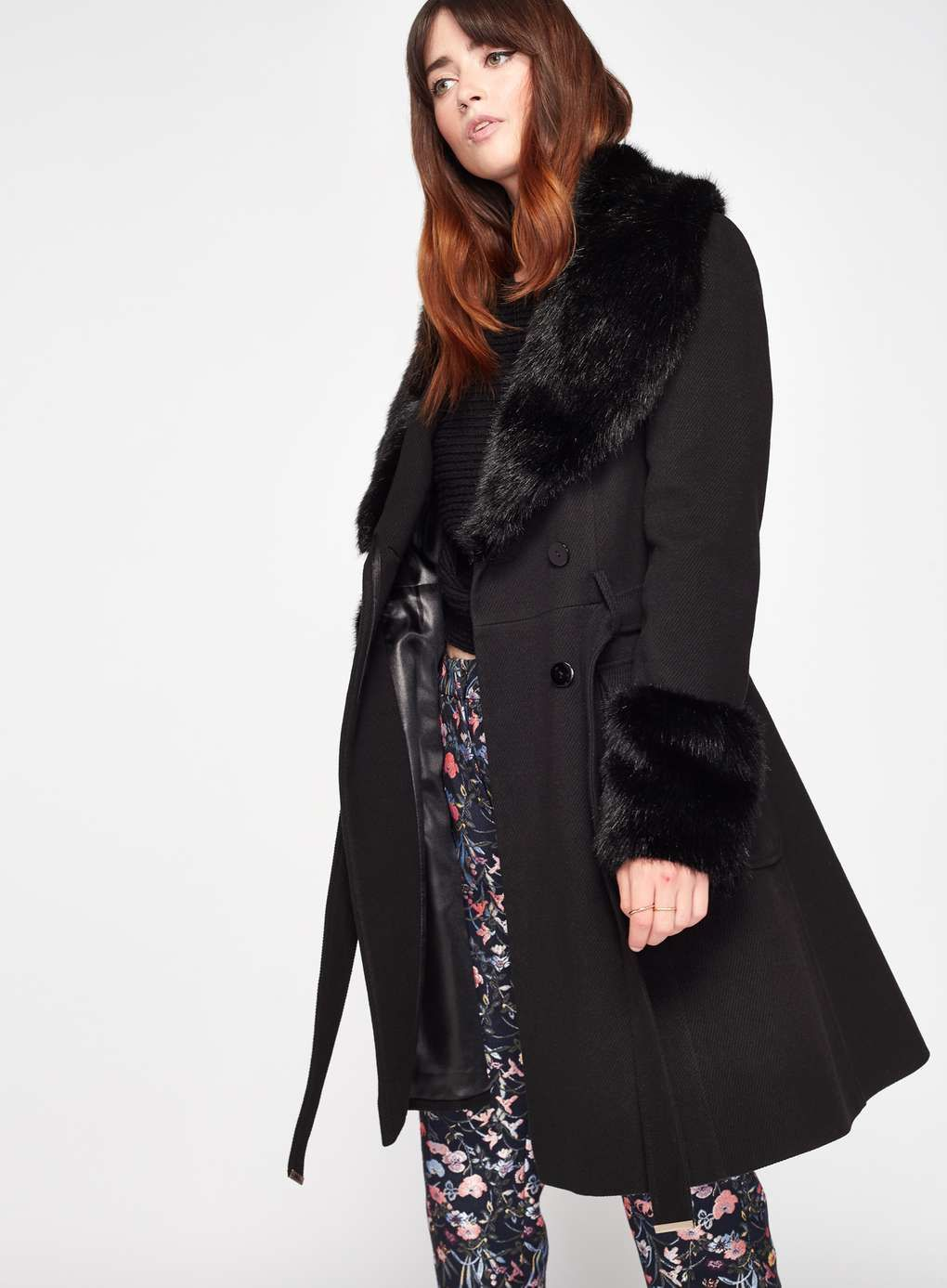 be2fc4466a0b Black Faux Fur Cuff And Collar Coat. Carousel Image 0 Miss Selfridge ...
