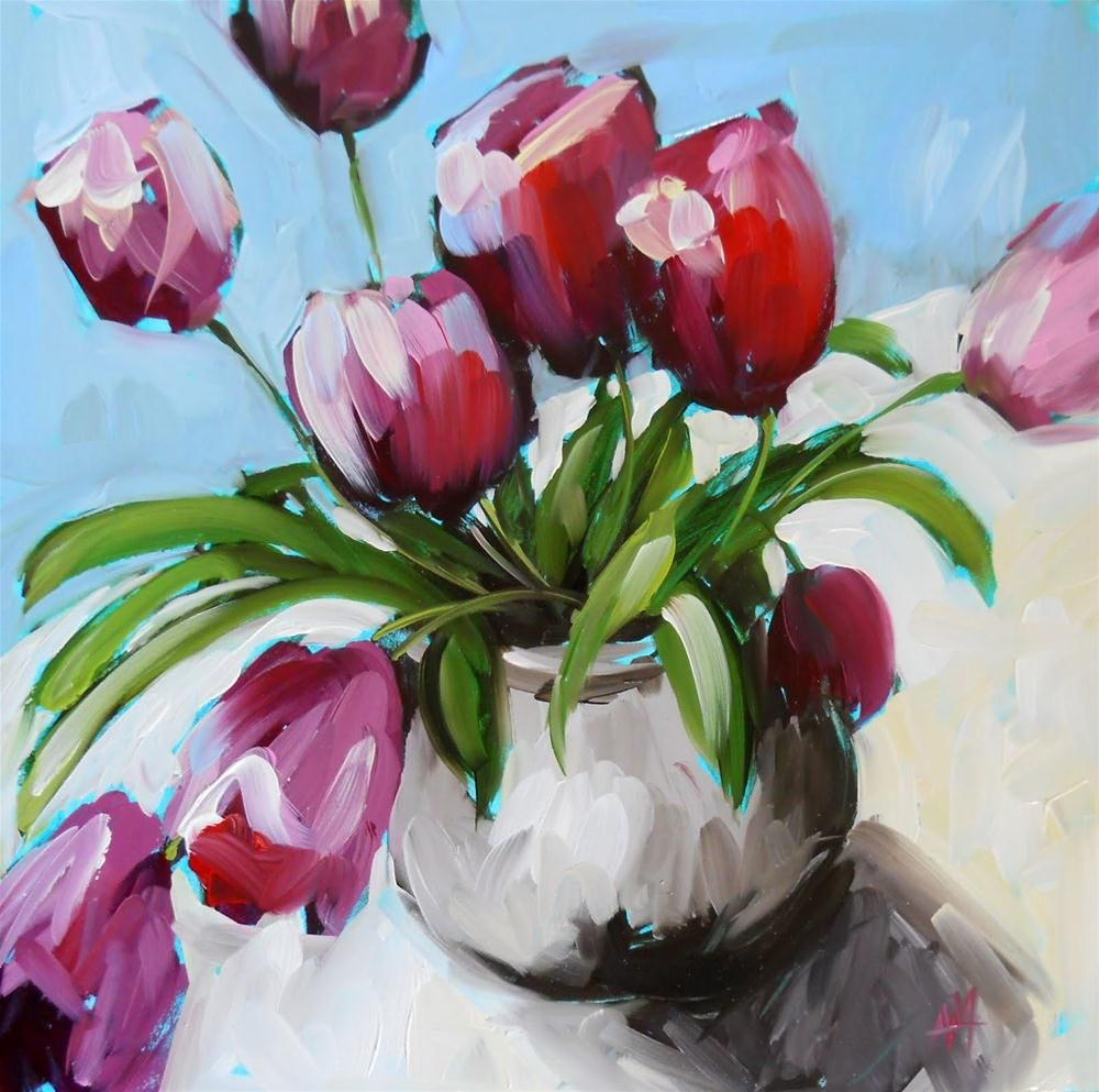 Artwork Pop-up - pink tulips in pottery vase no. 2 by Angela Moulton♥•♥•♥