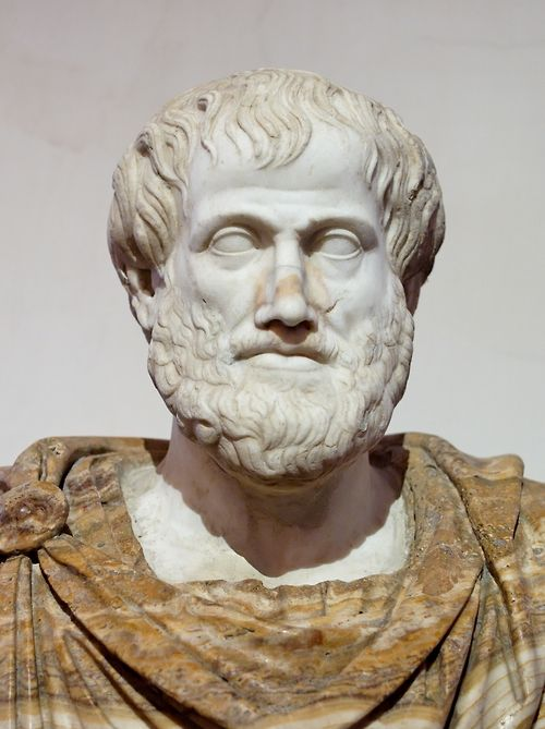 Bust of Aristotle. Marble, after a Greek bronze original by Lysippos from 330 BC; the alabaster mantle is a modern addition. National Museum of Rome - Palazzo Altemps