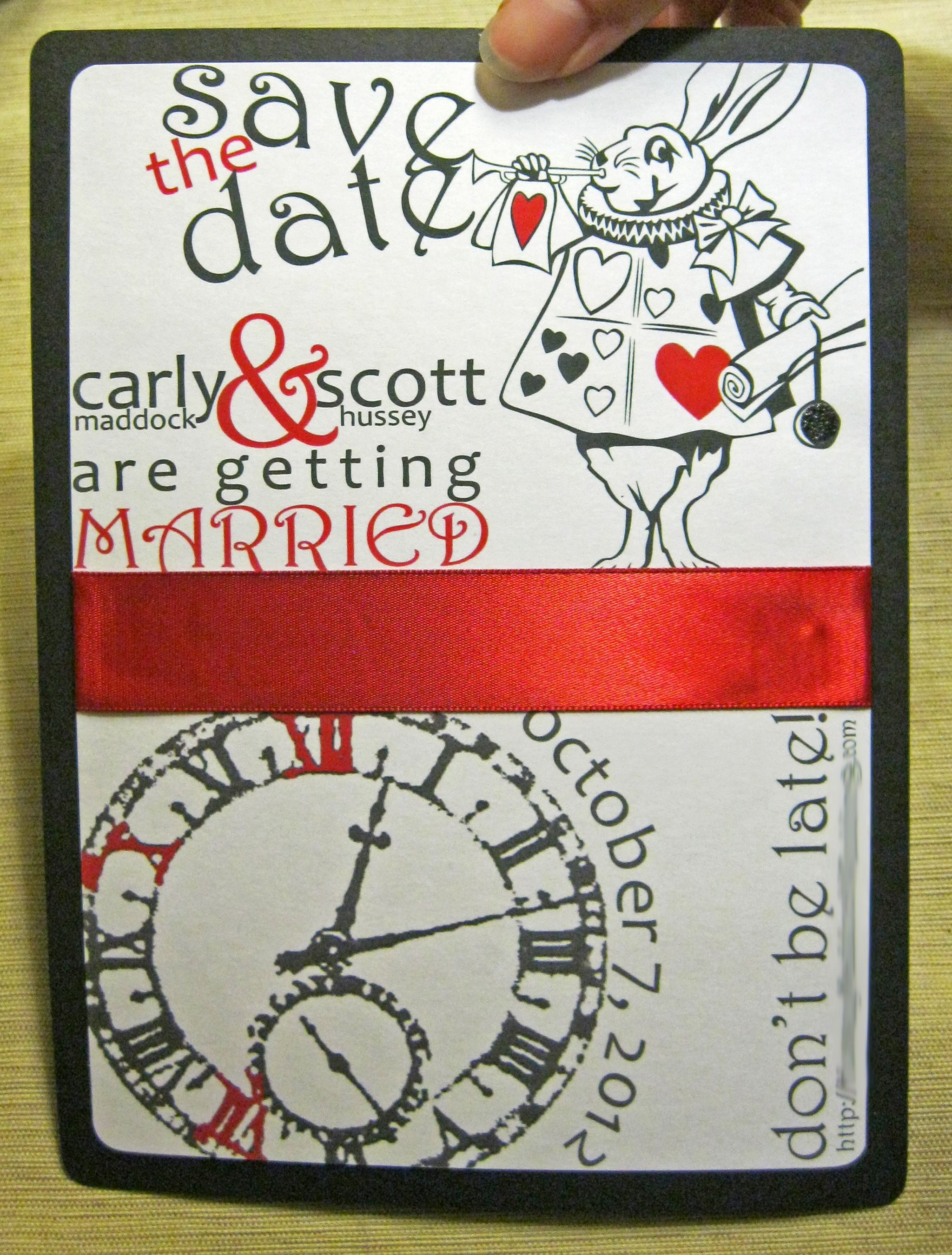 Save the dates for an Alice in Wonderland wedding. Invitation suite ...