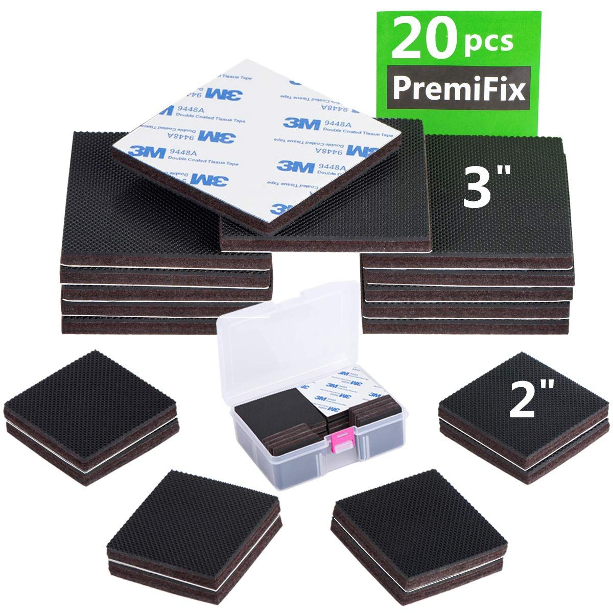 Non Slip Furniture Rubber Pads 20 Pieces 3 2 Inch Square Anti Slip Furniture Pads Hardwood Sofa Bed S Furniture Pads Felt Furniture Pads Furniture Protectors
