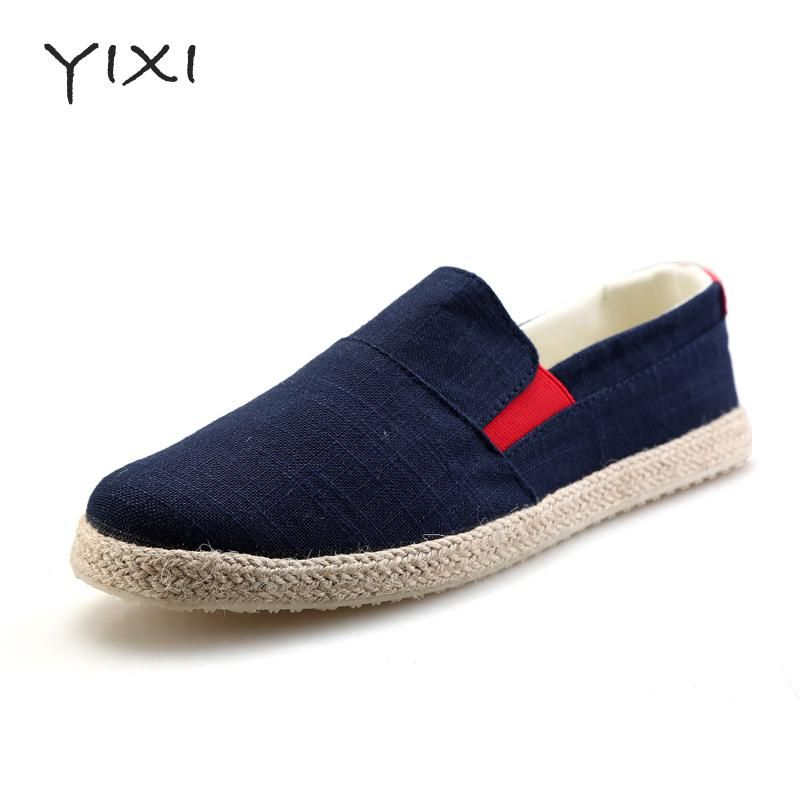 Espadrilles Mens Canvas Shoes Casual Sneakers Flat Deck Shoes Breathable Comfort Work (Color : A Size : 44)