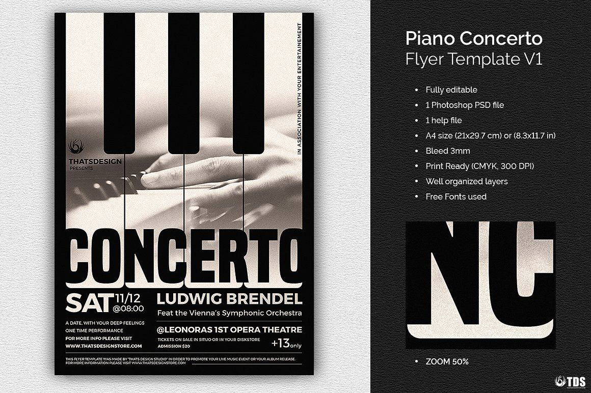 Piano Concerto Flyer Template | Free posters design for photoshop