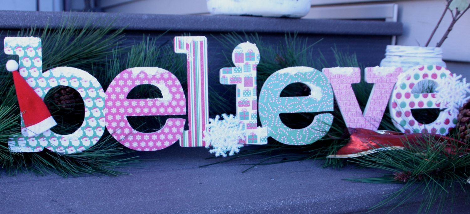 Santa Believe Christmas Sign Christmas by PaperCutsAndRibbons
