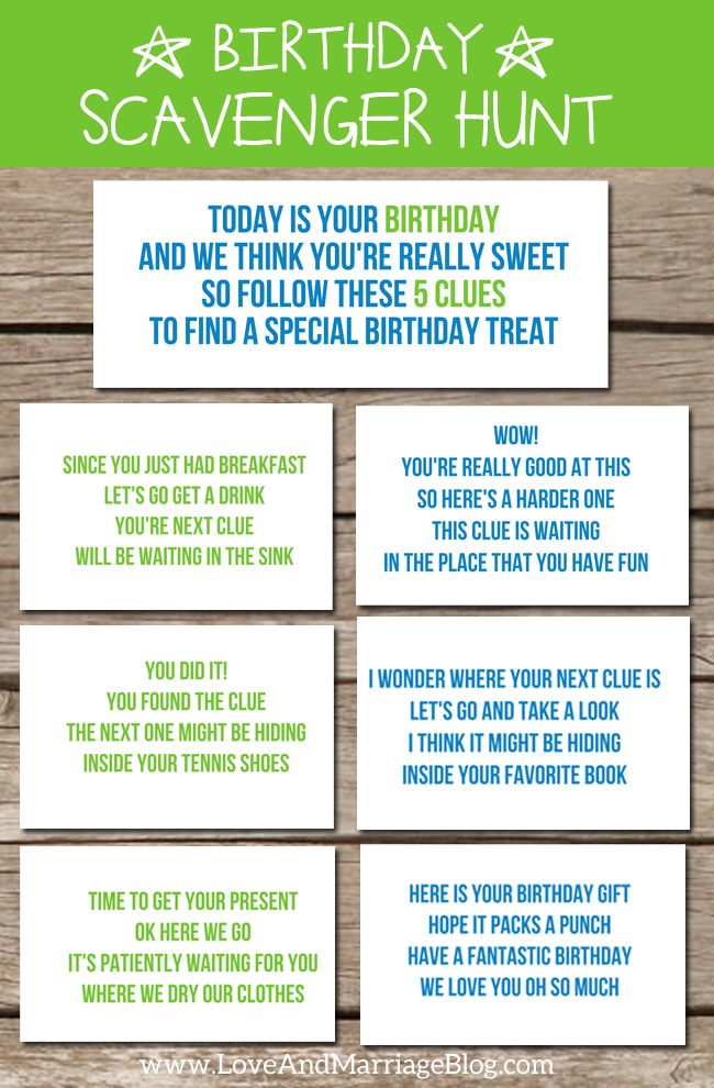 Birthday Scavenger Hunt {with free printables