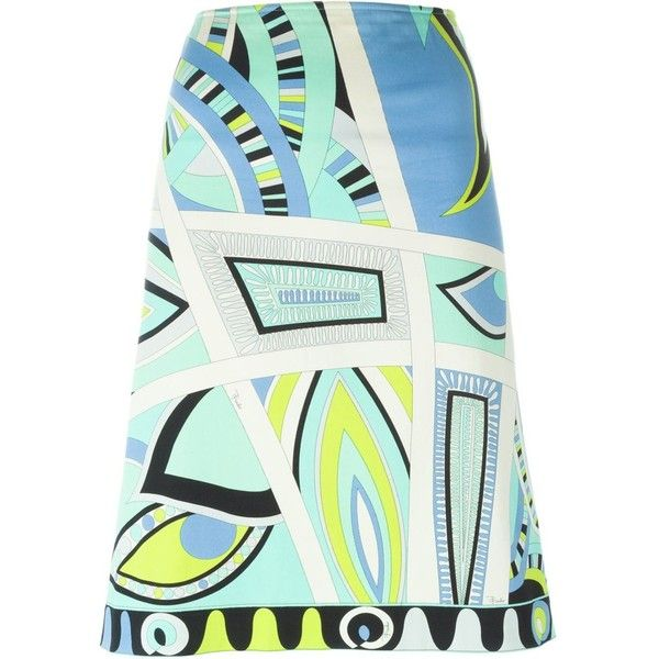 Emilio Pucci Vintage Printed a-Line Skirt (€210) ❤ liked on Polyvore featuring skirts, blue, green high waisted skirt, high-waisted skirts, high waist skirt, blue skirt and knee length skirts