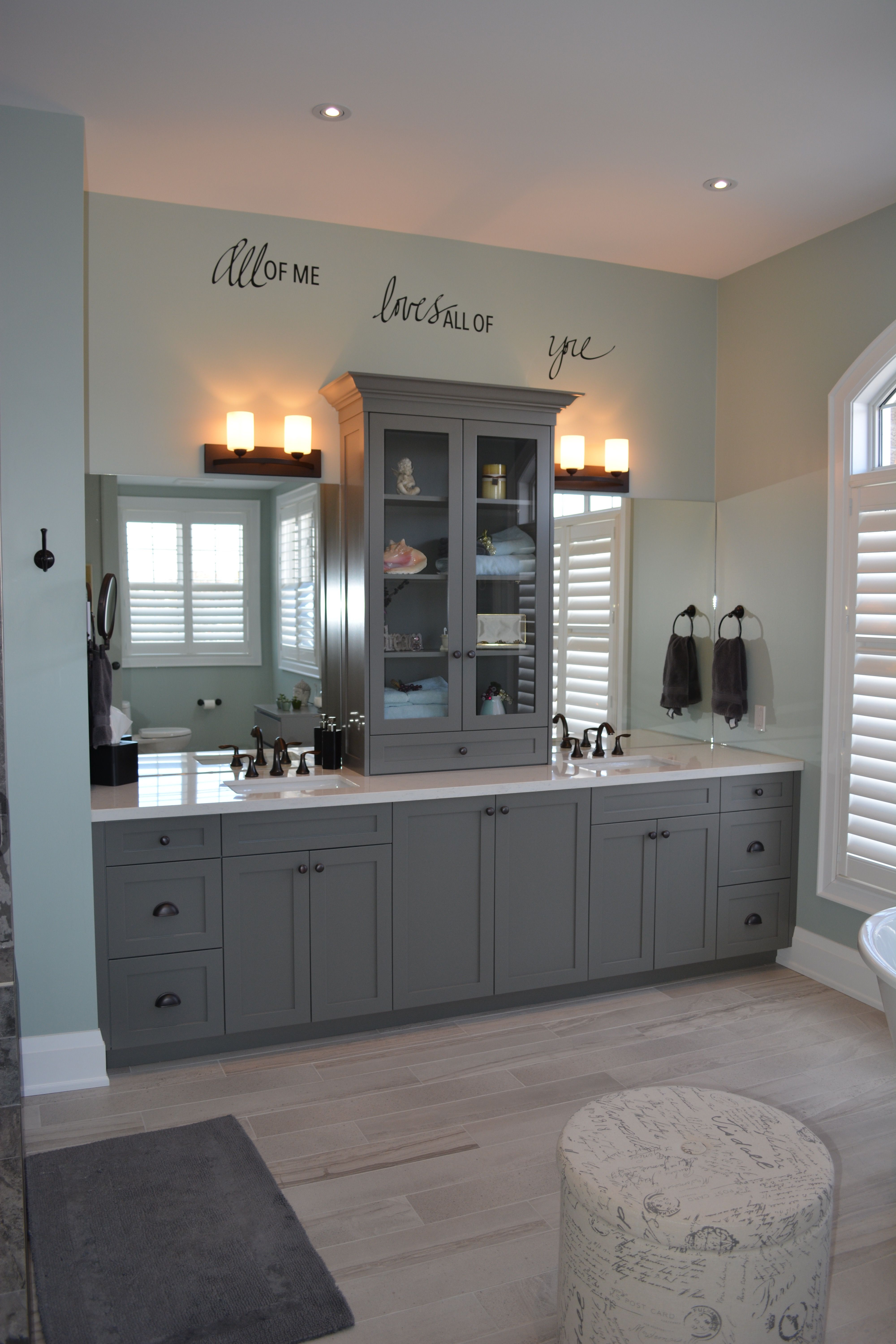 Master Bathroom With European Style Linen Tower On Quartz Countertop Under Mount Rectangular