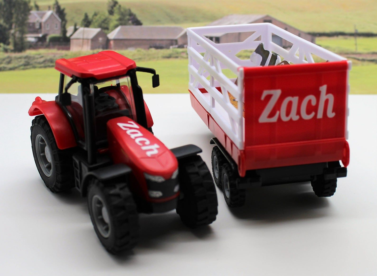 Personalised Name Gift Tractor Trailer Boys Toy Farm Tractor Etsy Tractor Trailers Tractors Toy Christmas Presents