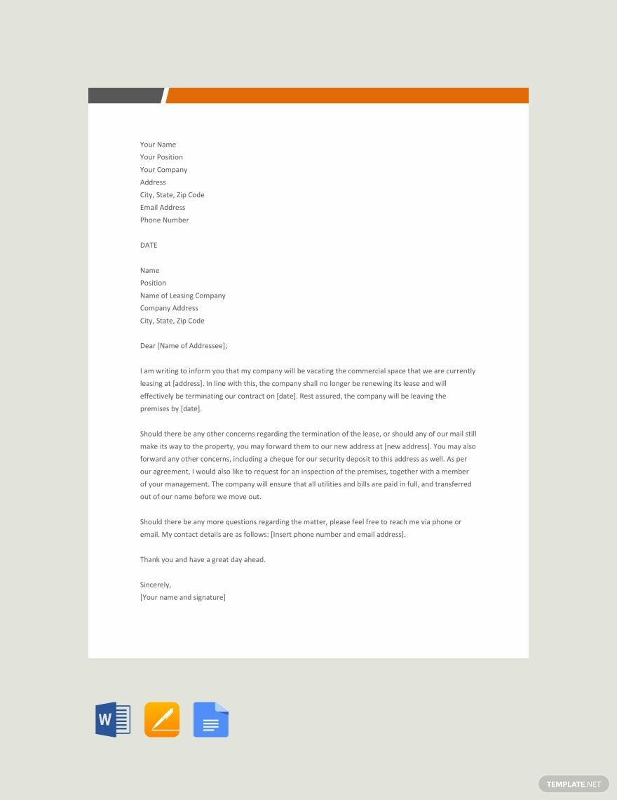 Free Commercial Lease Termination Letter | SAFARI