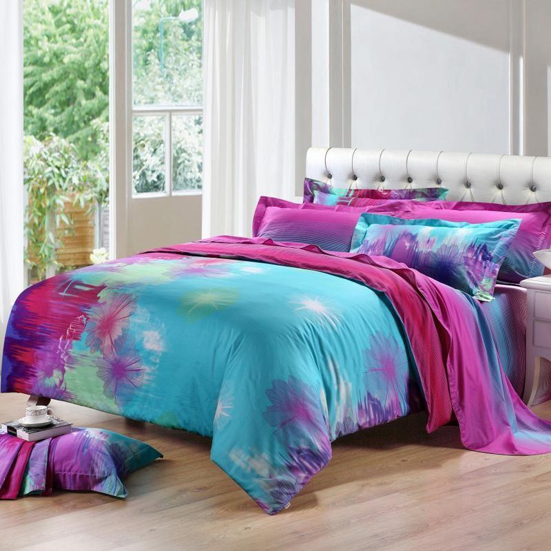 Sky Blue Purple and Hot Pink Taraxacum Dandelion Print Unique ... : hot pink quilt queen - Adamdwight.com