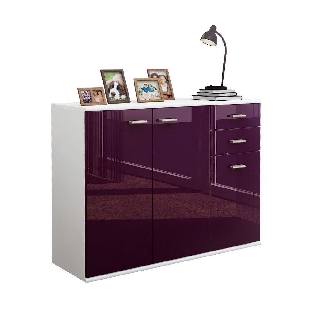 Sideboard Kommode Solo V3 In Weiss Brombeer Hochglanz Amazon De
