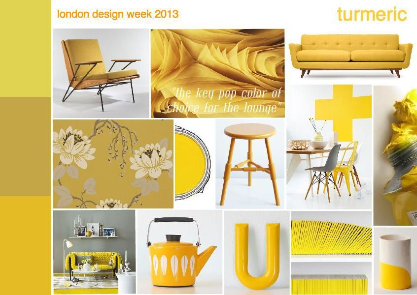Yellow Mood turmeric yellow ochre interior design mood board | colour palette