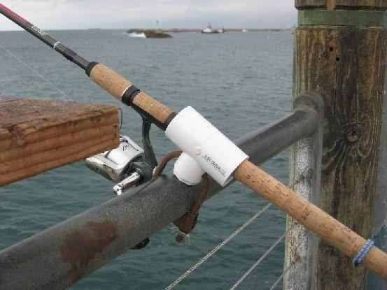 Homemade dock fishing rod holders. #fishingrod # ...