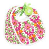 "Bib Set in Lilli Bell SKU #12766142  | 10 ½"" x 7 ¾""     Set of two      Absorbent cotton/poly-terry blend lining      Scalloped picot trim      Easy hook-and-loop closure      Packaged with green ribbon and Vera Bradley Baby hangtag - perfect for gifting!    Care Tips  Machine wash warm with like colors; only non-chlorine bleach when needed; tumble dry low; warm iron if needed"