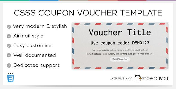 Css3 Coupon Voucher Template Codecanyon Item For Sale Email