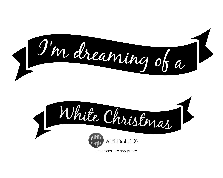 White Christmas Free Printable Banner