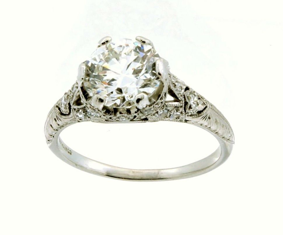 vintage deco platinum engagement