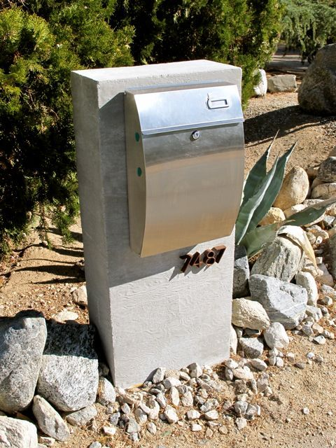Concrete Mailbox Post With Stainless Steel Mailbox Modern Mailbox Stainless Steel Mailbox Steel Mailbox