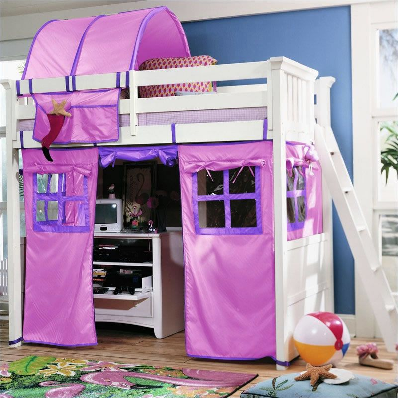 Lea Getaway Loft Bed With Tent Plain Wood Bunk Put Curtains Below Where Desk Goes Canopy Above Mosquito Net Round